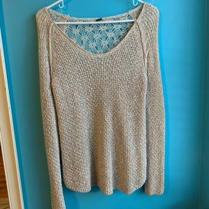 Poof! Tan sweater with cute back